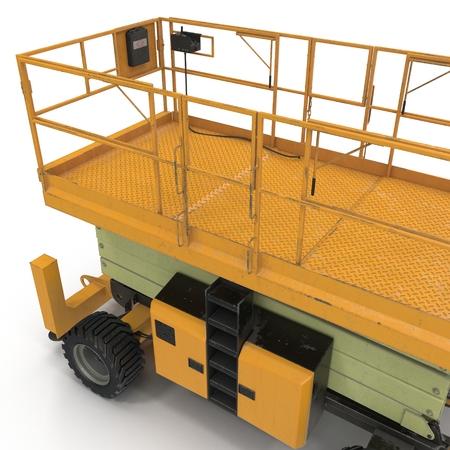 hydraulic platform: Mobile aerial work platform - Yellow scissor hydraulic self propelled lift on a white. 3D illustration