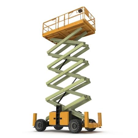 hydraulic platform: large yellow extended scissor lift platform on white. 3D illustration