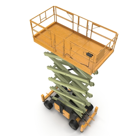powered: Engine Powered Scissor Lift on white. Angle from up. 3D illustration