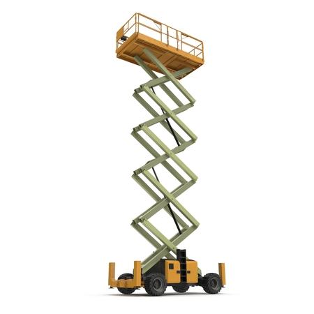 hydraulic platform: extended scissor lift on white. 3D illustration