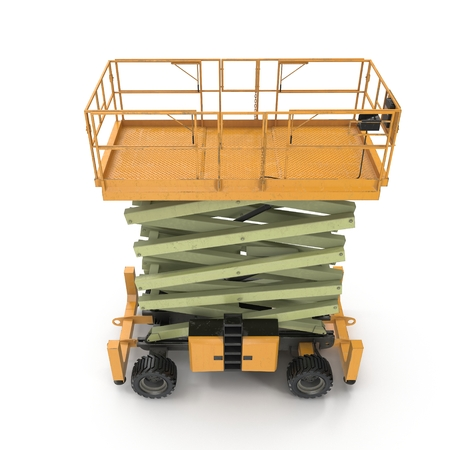hydraulic platform: Mobile aerial work platform - Yellow scissor hydraulic self propelled lift on a white. Side view. 3D illustration