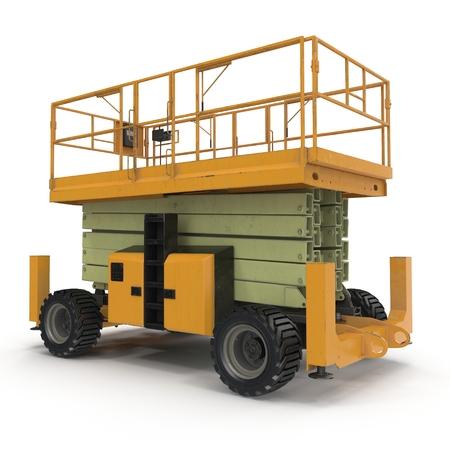 hydraulic platform: Lifting machine isolated on white. 3D illustration