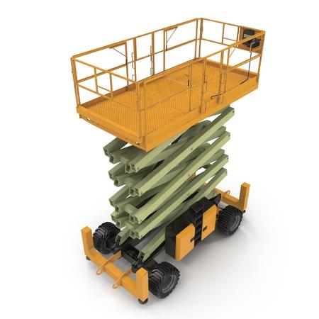 hydraulic platform: Engine Powered Scissor Lift on white. 3D illustration
