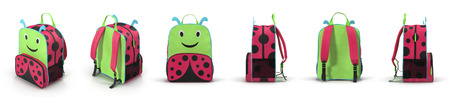 Girls Ladybug School Backpack renders set from different angles on a white. 3D illustration Stock Photo