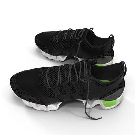 pair of sport trainers isolated on white. 3D illustration Stock Photo