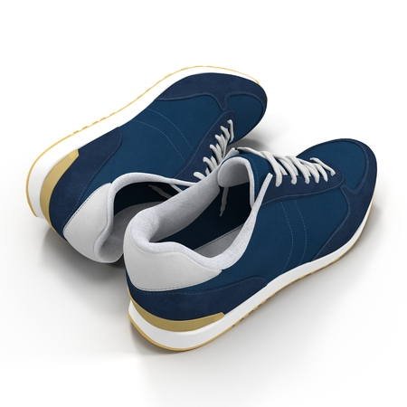 convenient: Convenient for sports mens sneakers in dark blue thick fabric. Presented on a white. 3D illustration Stock Photo