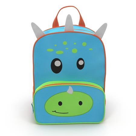 Dino Kids Back Pack on a white. Front view. 3D illustration Stock Photo