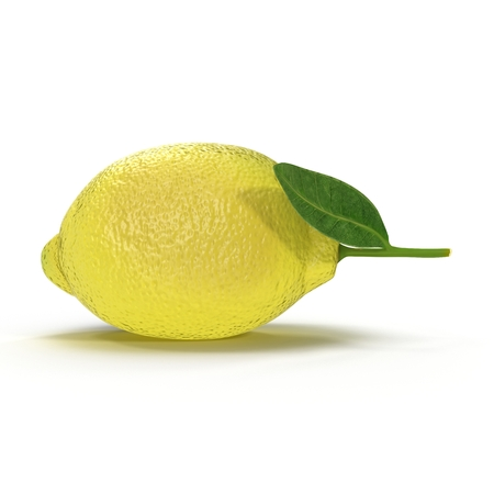 Lemon. Fruit with leaves isolated on white. Side view. 3D illustration Stock Photo
