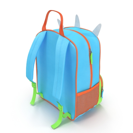 Isolated rear view of 3D kids leash backpack.