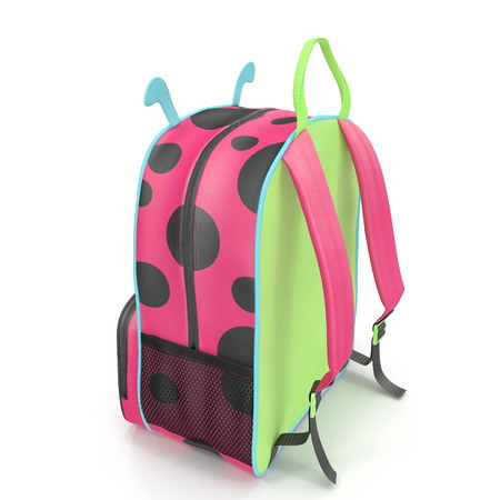 Kids Ladybug Leash Backpack Bag Rear view 3D illustration Stock Photo