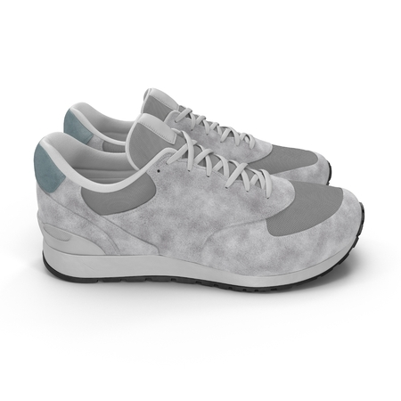 Pair of bright sport shoes Side view 3D illustration