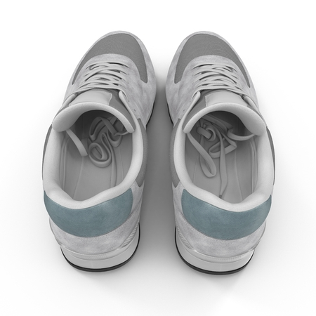 New unbranded running shoe, sneaker or trainer Rear view 3D illustration Stock Photo