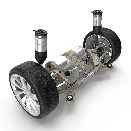 Electric car back suspension with new tire on white. 3D illustration Stock Photo