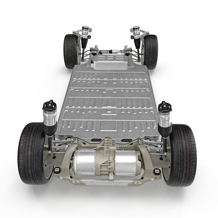 chassis: Electric car chassis with battery on white. Rear view. 3D illustration Stock Photo