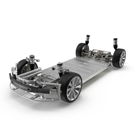 Electric car chassis with battery on white. 3D illustration