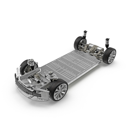car: Electric car chassis with battery on white. 3D illustration