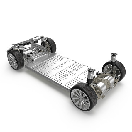 chassis: Car chassis with electric engine isolated on white. 3D illustration