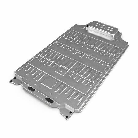 Elektrisch Autobatterijpak op wit. 3D illustratie