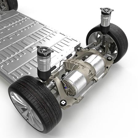 電気自動車のシャーシは白で隔離がレンダリングされます。3 D イラストレーション 写真素材
