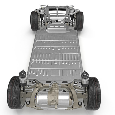 chassis: Car chassis with electric engine isolated on white background. Rear view. 3D illustration
