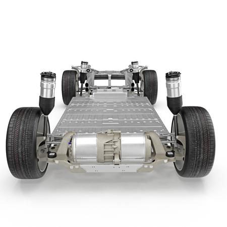 Châssis de voiture avec moteur électrique isolé sur fond blanc. Vue arrière. Illustration 3D