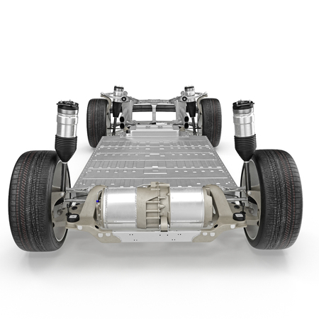 Chasis de coche con motor eléctrico aislado sobre fondo blanco. Vista trasera. Ilustración 3D