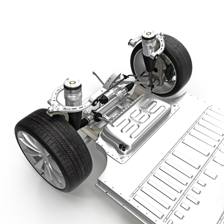 chassis: Render of electric car chassis isolated on white. 3D illustration