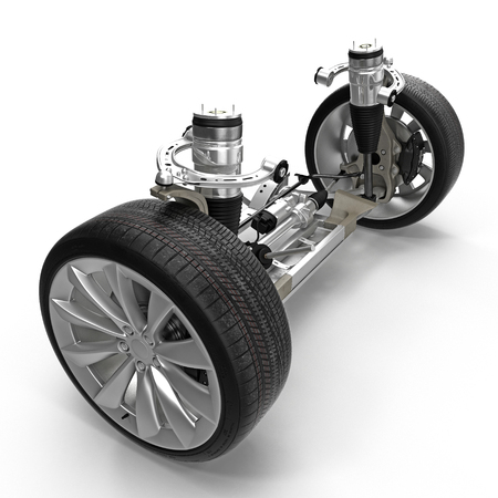 chassis: Electric Car Front Axle with new tire isolated on white. 3D illustration