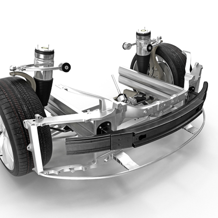 axle: Electric Car Front Axle with new tire isolated on white. 3D illustration