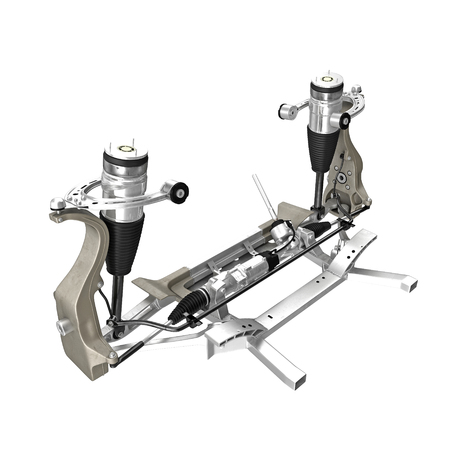 chassis: Electric Car Front Axle isolated on white. 3D illustration