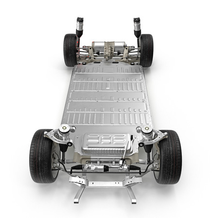 Electric car chassis with battery on white. Front view. 3D illustration