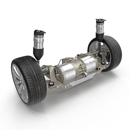 Suspension arrière électrique avec nouveau pneu sur blanc. Banque d'images - 74041087