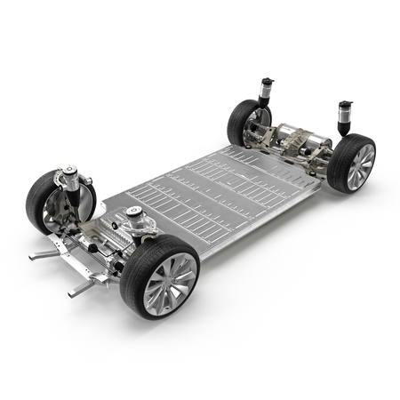 car brake: Electric car chassis with battery on white. 3D illustration