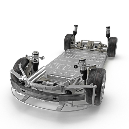 Render of electric car chassis isolated on white. 3D illustration