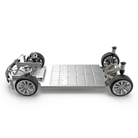 Car chassis with electric engine isolated on white. Side view. 3D illustration