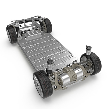 Car chassis with electric engine isolated on white. 3D illustration