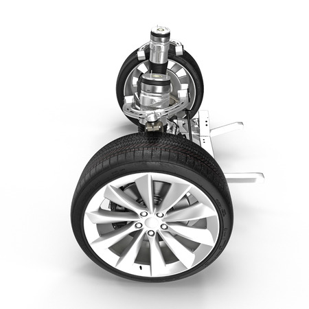 Electric Car Front Axle with new tire isolated on white. Side view. 3D illustration