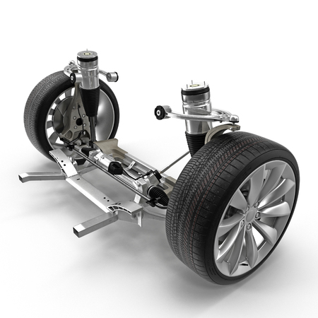 Electric Car Front Axle with new tire isolated on white. 3D illustration