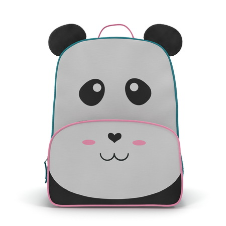 Panda Kids Back Pack on a white. Front view. 3D illustration