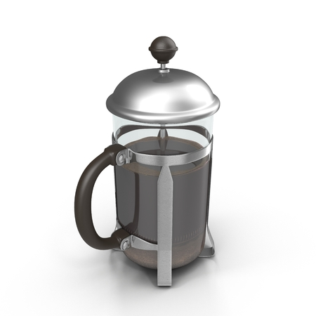 French Press Coffee or Teapot on white. 3D illustration Stock Photo