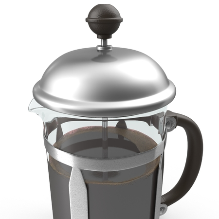 French press coffee maker on white. 3D illustration Stock Photo