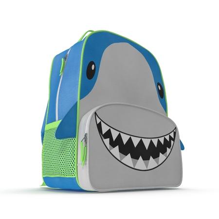 Childs Backpack Shark Design on a white. 3D illustration Stock Photo