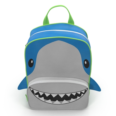 Shark Kids Back Pack on a white. Front view. 3D illustration Stock Photo