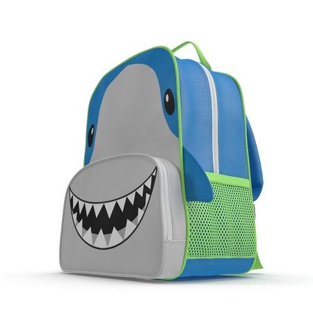 Boys Shark School Backpack on white. 3D illustration Stock Photo