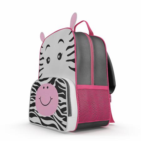 Girls Zebra School Backpack on white background. 3D illustration Stock Photo