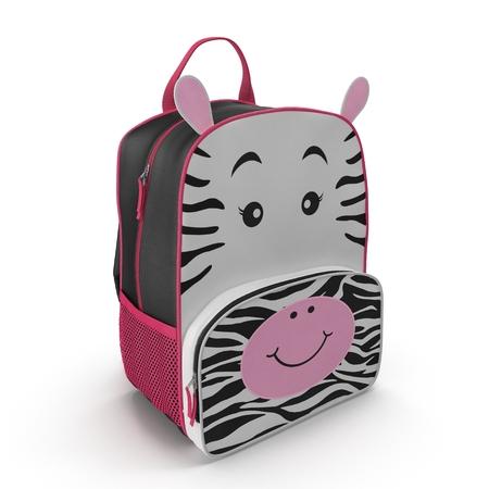 Childs Backpack Zebra Design on a white. 3D illustration Stock Photo