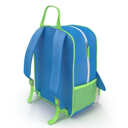 childs backpack isolated on a white. Rear view. 3D illustration