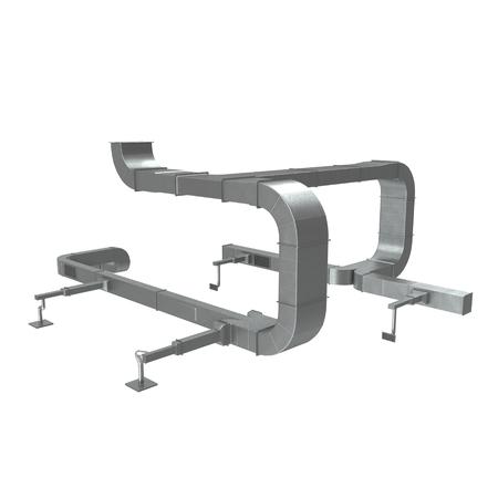 Systeem van het ventileren van pijpen op wit. 3D illustratie