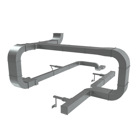 System of ventilating pipes on white. 3D illustration
