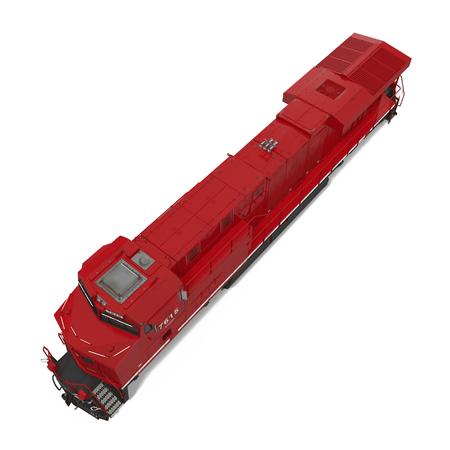Diesel-elektrische locomotief op wit. 3D illustratie